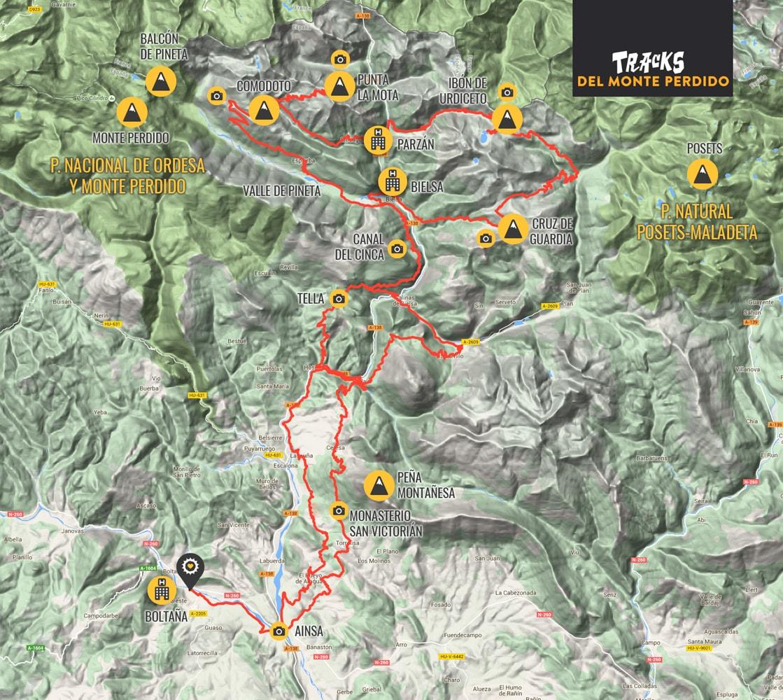 The Monte Perdido route. Bikefriendly BTT tours- map