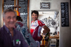 Cyclist in a Bikefriendly pub