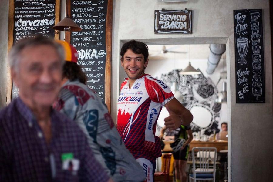 Cyclist in a Bikefriendly pub