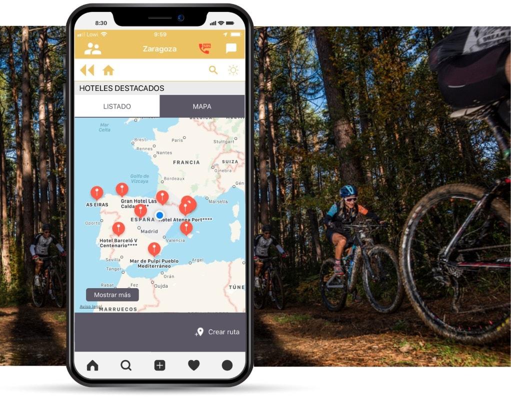 Localizador de hoteles Bikefriendly en la app