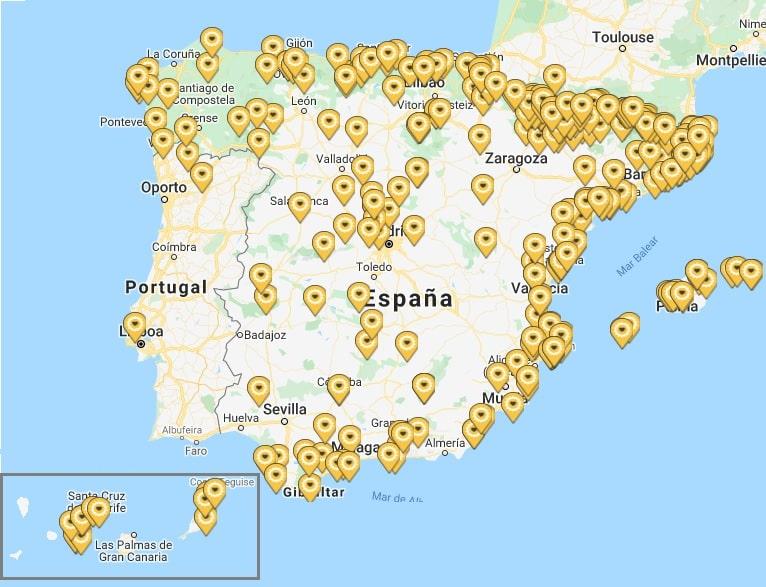Mapa de hoteles para ciclistas Bikefriendly en España